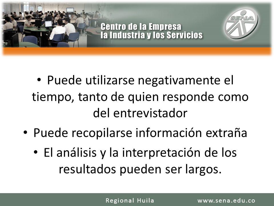 Puede utilizarse negativamente el tiempo, tanto de quien responde como del entrevistador Puede recopilarse información extraña El análisis y la interp