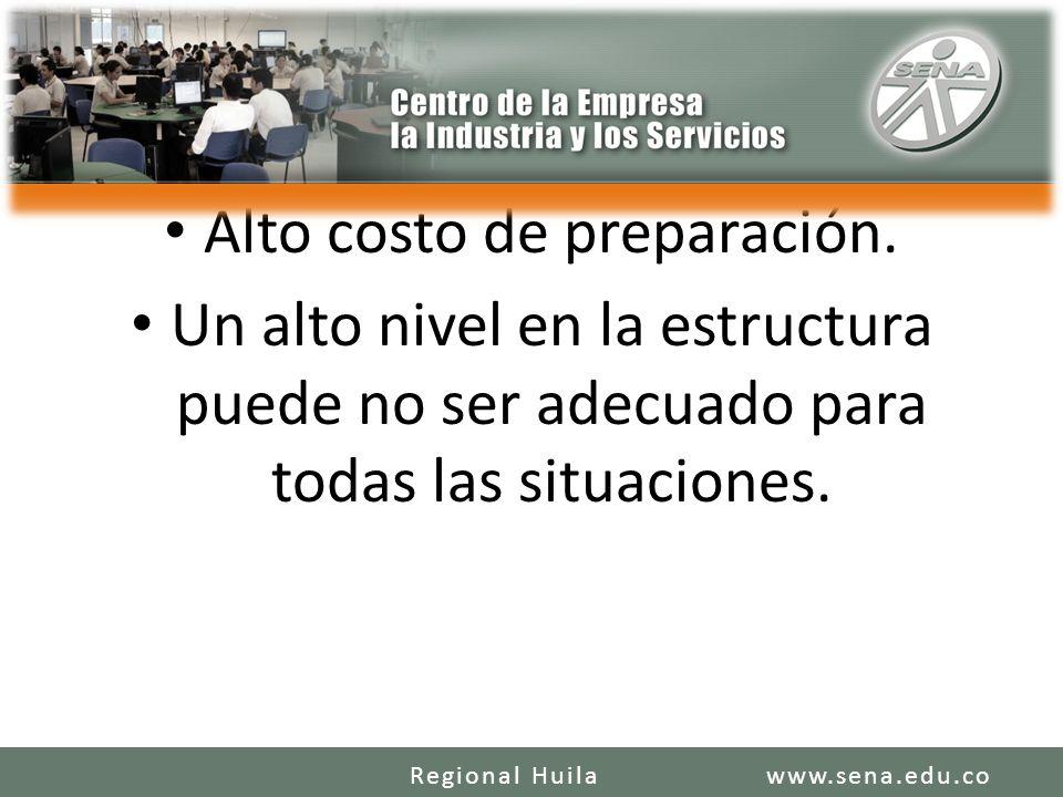 Alto costo de preparación. Un alto nivel en la estructura puede no ser adecuado para todas las situaciones. www.sena.edu.coRegional Huila