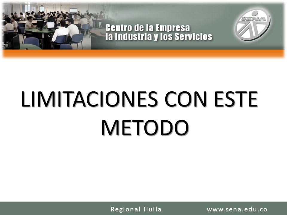 LIMITACIONES CON ESTE METODO www.sena.edu.coRegional Huila