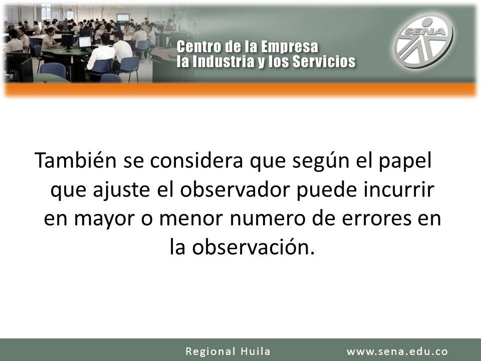 También se considera que según el papel que ajuste el observador puede incurrir en mayor o menor numero de errores en la observación. www.sena.edu.coR
