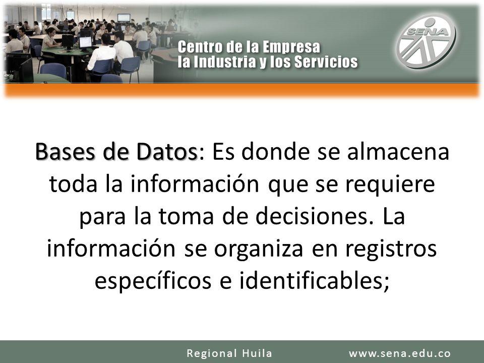 Bases de Datos Bases de Datos: Es donde se almacena toda la información que se requiere para la toma de decisiones. La información se organiza en regi