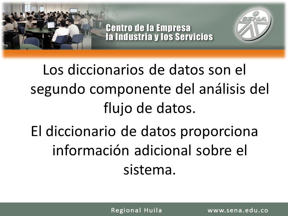 Los diccionarios de datos son el segundo componente del análisis del flujo de datos. El diccionario de datos proporciona información adicional sobre e