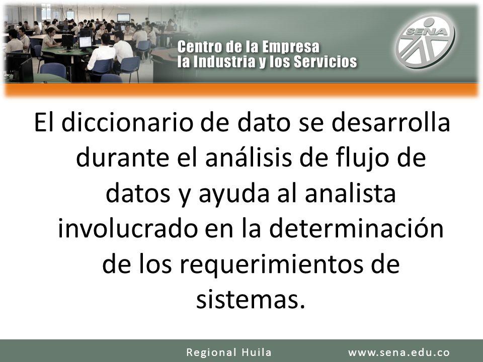 El diccionario de dato se desarrolla durante el análisis de flujo de datos y ayuda al analista involucrado en la determinación de los requerimientos d