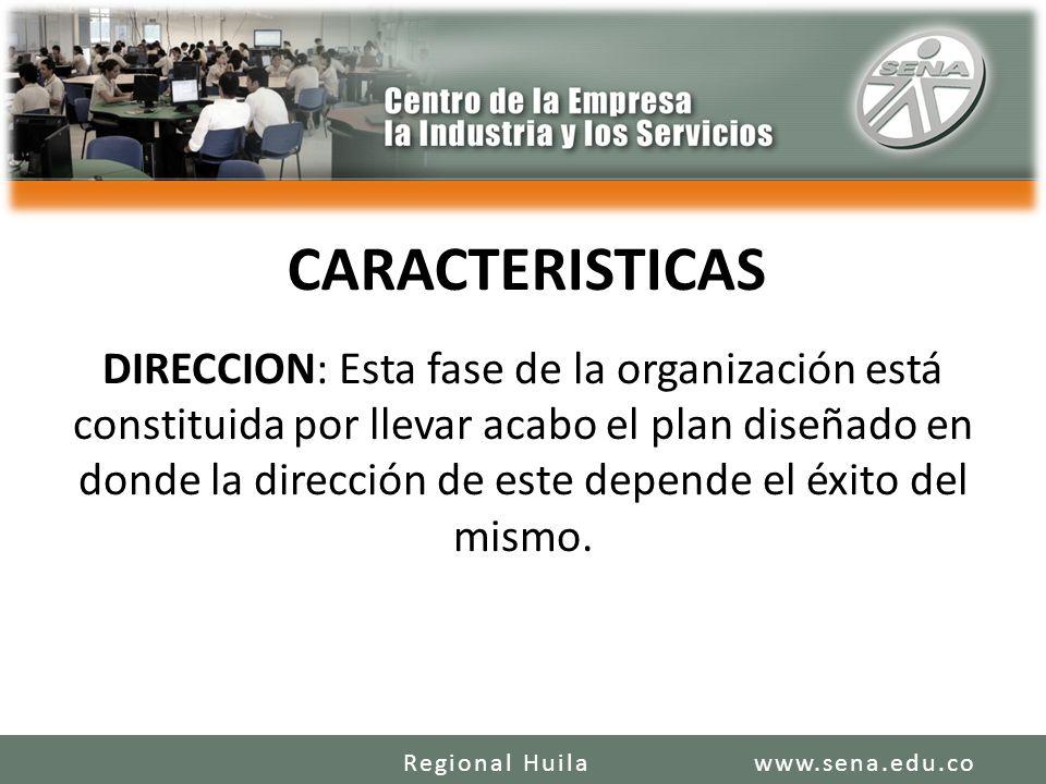 CARACTERISTICAS DIRECCION: Esta fase de la organización está constituida por llevar acabo el plan diseñado en donde la dirección de este depende el éxito del mismo.