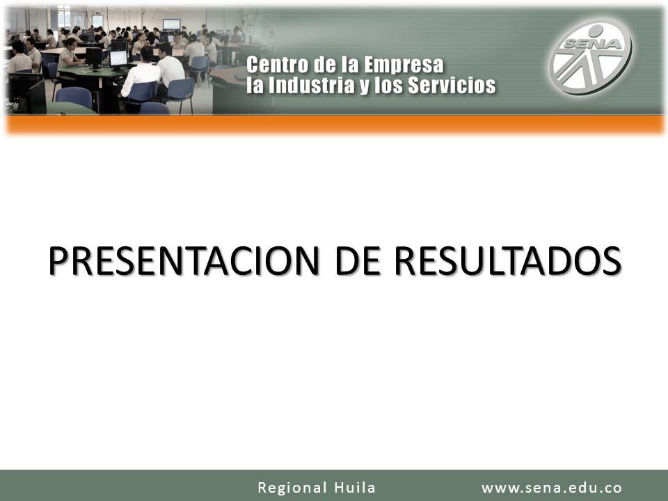 PRESENTACION DE RESULTADOS www.sena.edu.coRegional Huila