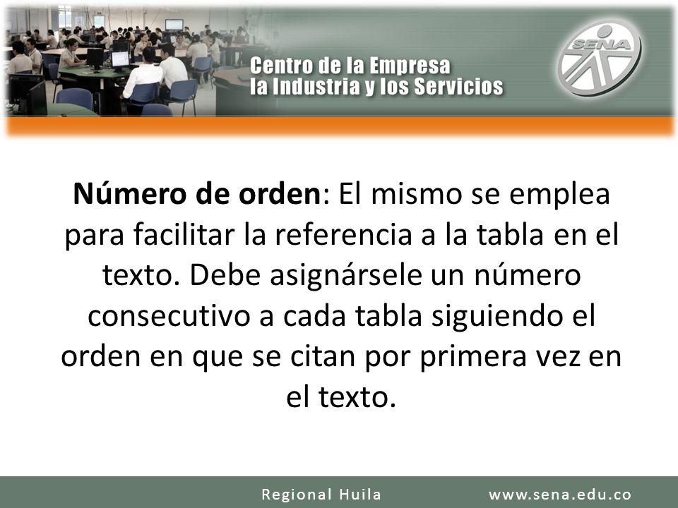 Número de orden: El mismo se emplea para facilitar la referencia a la tabla en el texto.
