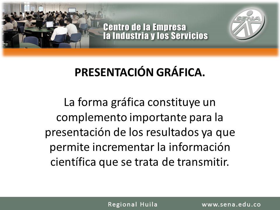 PRESENTACIÓN GRÁFICA. La forma gráfica constituye un complemento importante para la presentación de los resultados ya que permite incrementar la infor