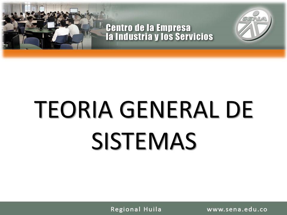 TEORIA GENERAL DE SISTEMAS www.sena.edu.coRegional Huila