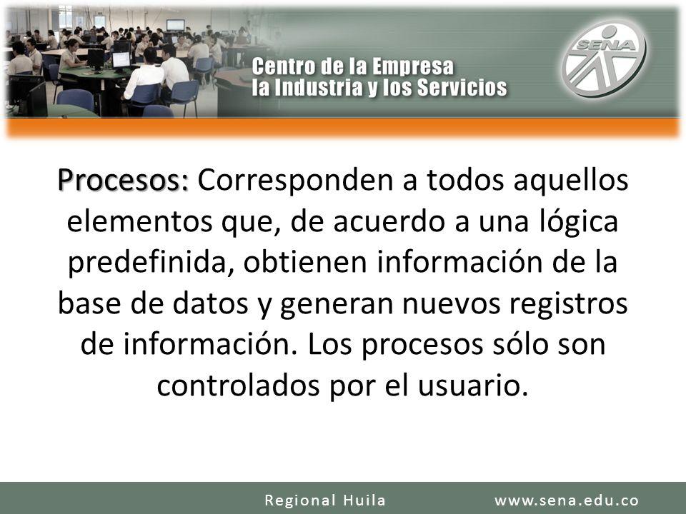 Procesos: Procesos: Corresponden a todos aquellos elementos que, de acuerdo a una lógica predefinida, obtienen información de la base de datos y generan nuevos registros de información.