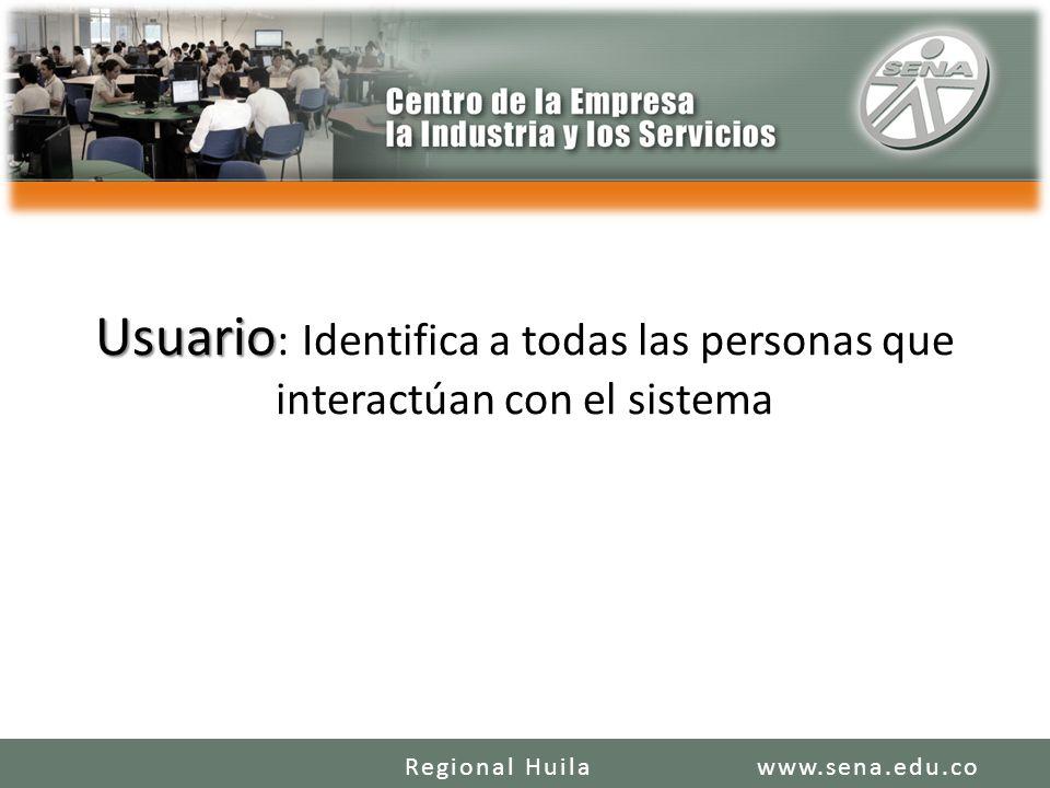 Usuario Usuario : Identifica a todas las personas que interactúan con el sistema www.sena.edu.coRegional Huila