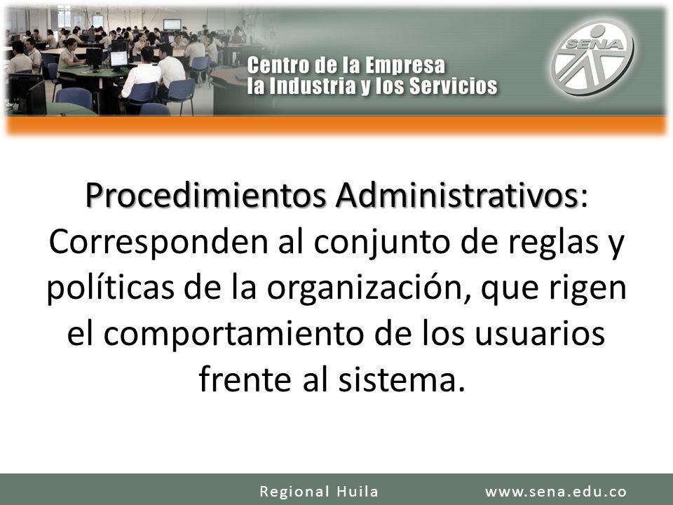 Procedimientos Administrativos Procedimientos Administrativos: Corresponden al conjunto de reglas y políticas de la organización, que rigen el comportamiento de los usuarios frente al sistema.
