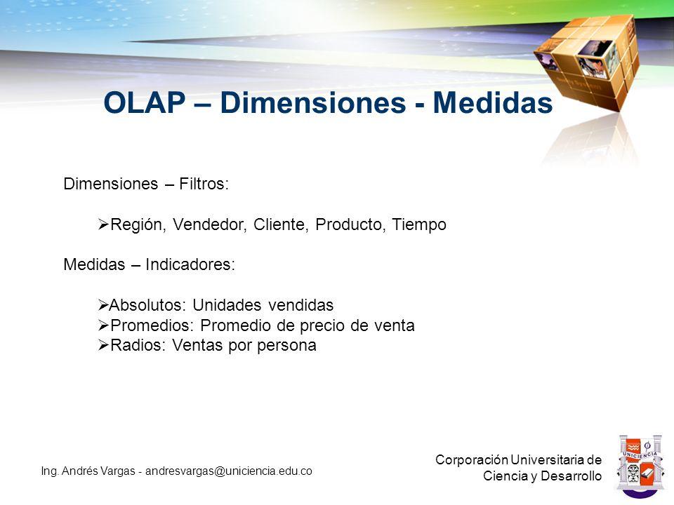 OLAP – Dimensiones - Medidas Corporación Universitaria de Ciencia y Desarrollo Ing.