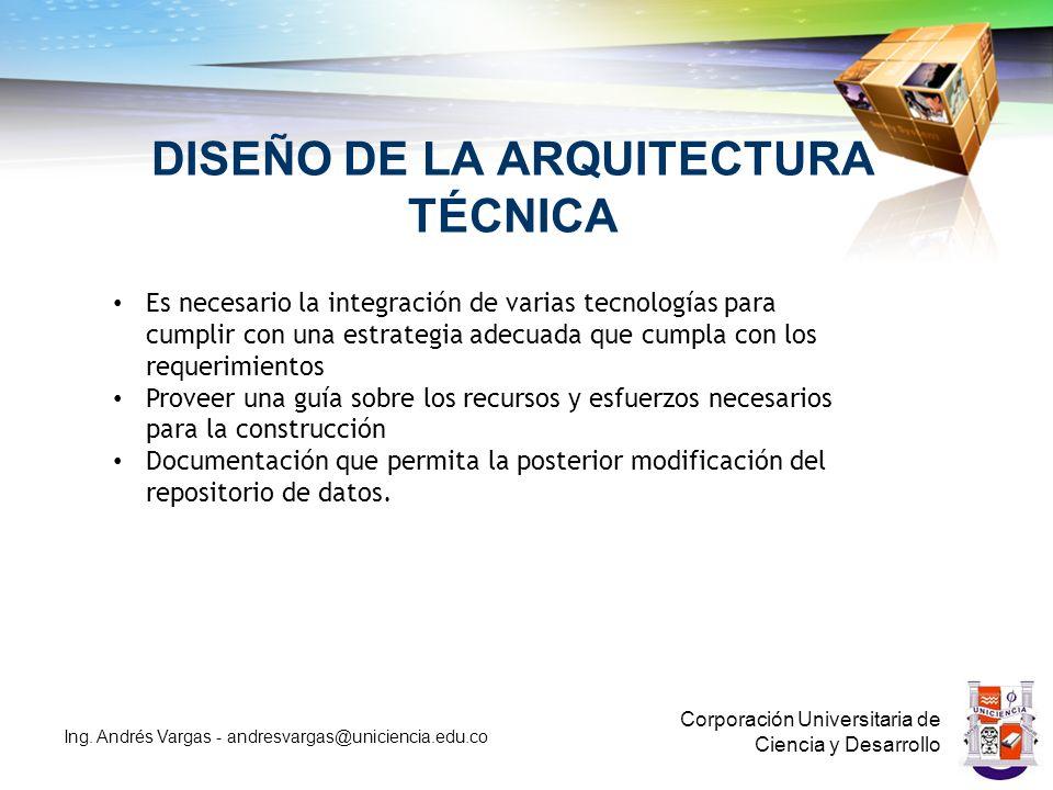 DISEÑO DE LA ARQUITECTURA TÉCNICA Corporación Universitaria de Ciencia y Desarrollo Ing.