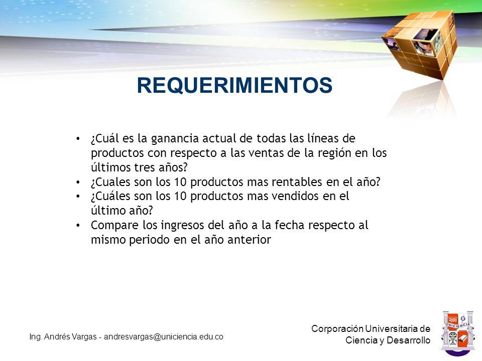 REQUERIMIENTOS Corporación Universitaria de Ciencia y Desarrollo Ing.