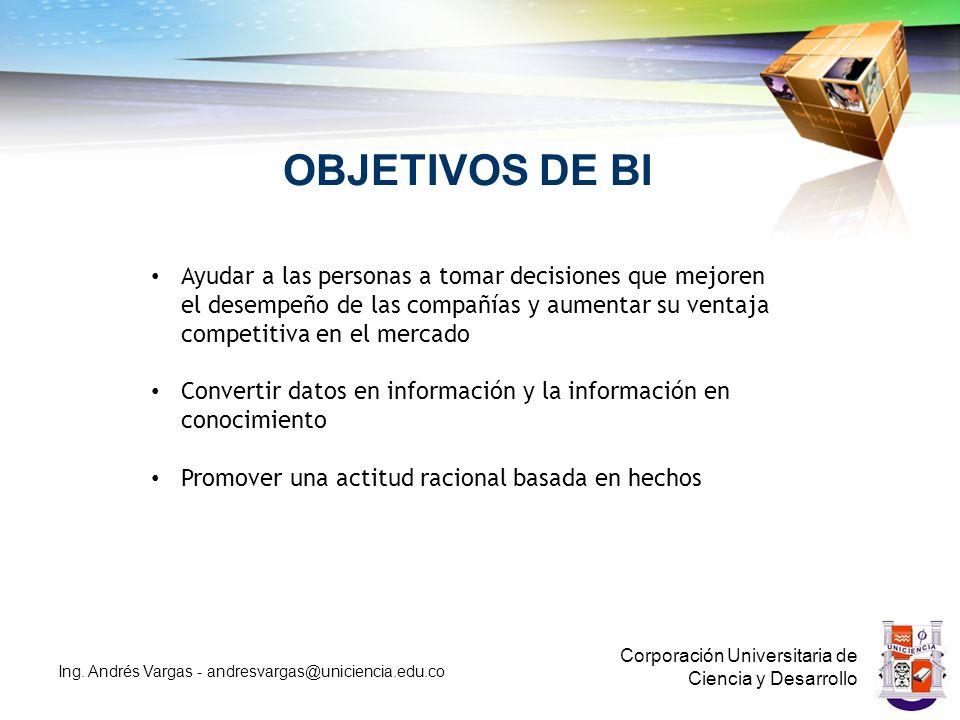 OBJETIVOS DE BI Corporación Universitaria de Ciencia y Desarrollo Ing.
