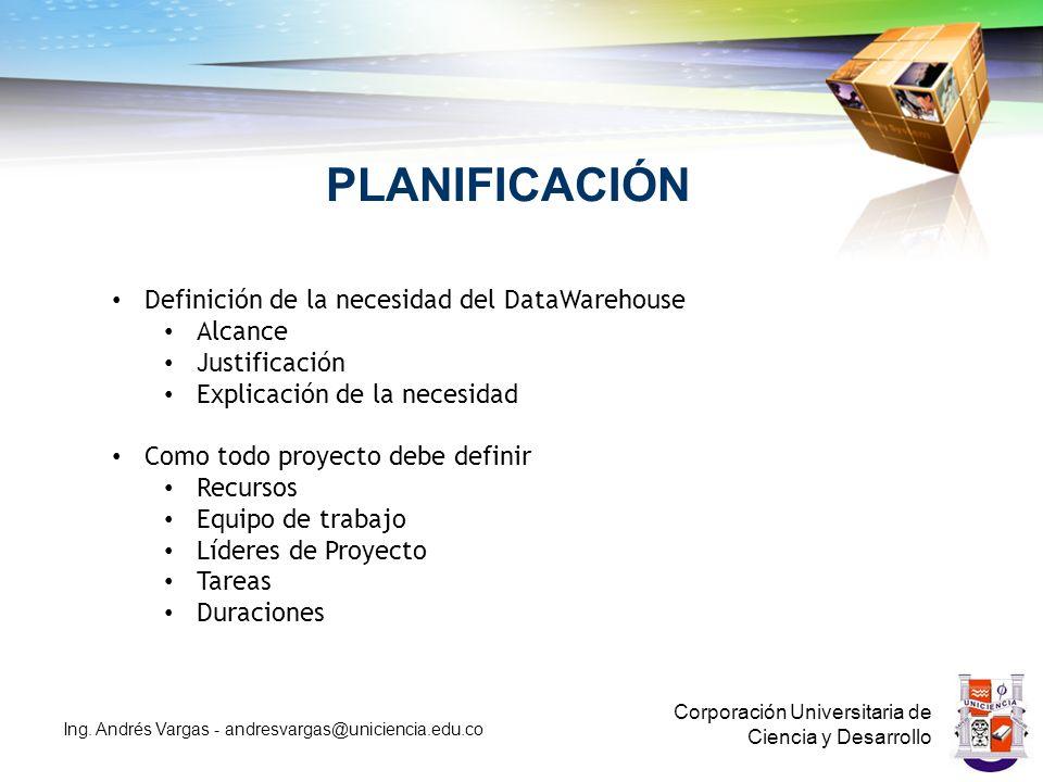 PLANIFICACIÓN Corporación Universitaria de Ciencia y Desarrollo Ing.