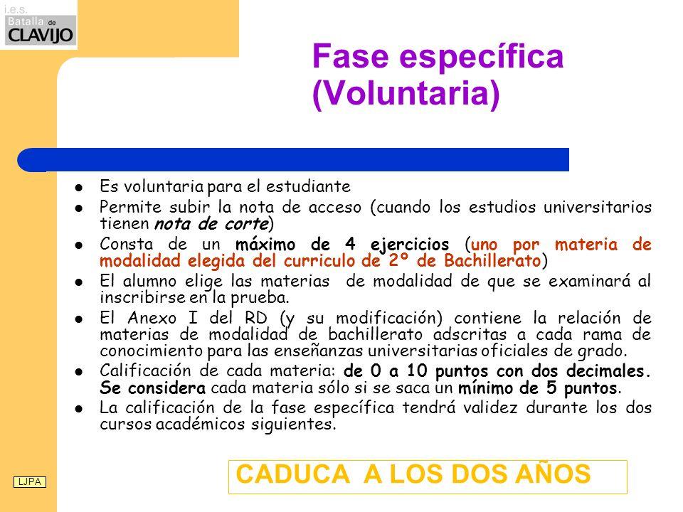 Fase específica (Voluntaria) Es voluntaria para el estudiante Permite subir la nota de acceso (cuando los estudios universitarios tienen nota de corte