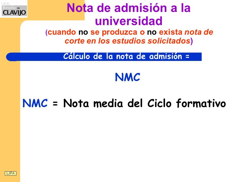 Nota de admisión a la universidad ( cuando no se produzca o no exista nota de corte en los estudios solicitados) Cálculo de la nota de admisión = NMC