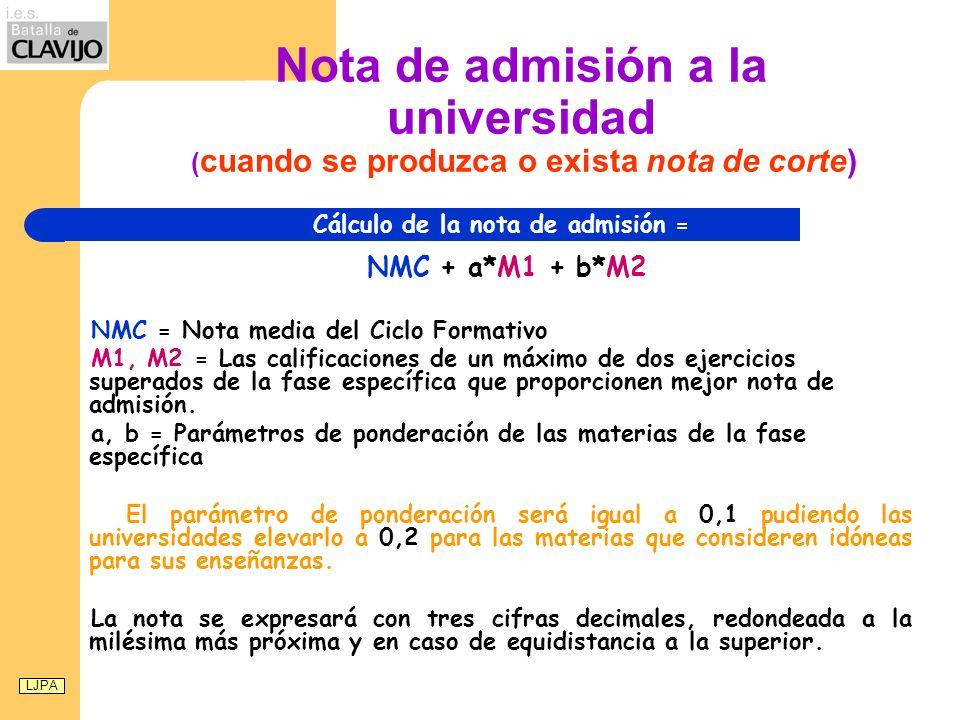 Nota de admisión a la universidad ( cuando se produzca o exista nota de corte) Cálculo de la nota de admisión = NMC + a*M1 + b*M2 NMC = Nota media del