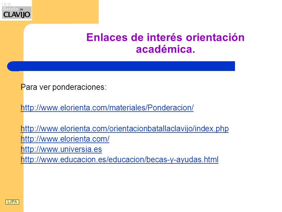 Enlaces de interés orientación académica. Para ver ponderaciones: http://www.elorienta.com/materiales/Ponderacion/ http://www.elorienta.com/orientacio
