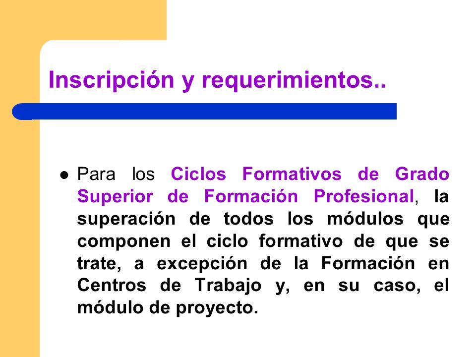 Inscripción y requerimientos.. Para los Ciclos Formativos de Grado Superior de Formación Profesional, la superación de todos los módulos que componen