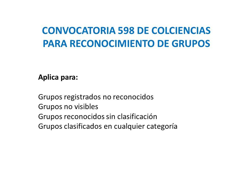 CONVOCATORIA 598 DE COLCIENCIAS PARA RECONOCIMIENTO DE GRUPOS Aplica para: Grupos registrados no reconocidos Grupos no visibles Grupos reconocidos sin clasificación Grupos clasificados en cualquier categoría
