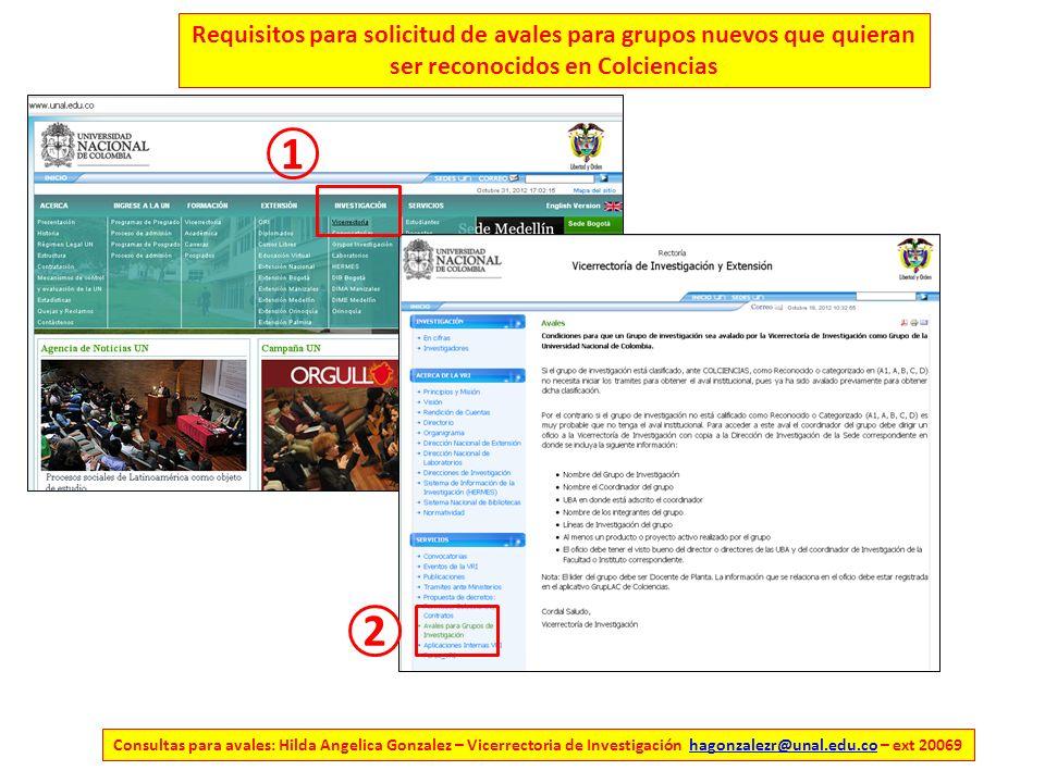 Consultas para avales: Hilda Angelica Gonzalez – Vicerrectoria de Investigación hagonzalezr@unal.edu.co – ext 20069hagonzalezr@unal.edu.co Requisitos para solicitud de avales para grupos nuevos que quieran ser reconocidos en Colciencias 1 2