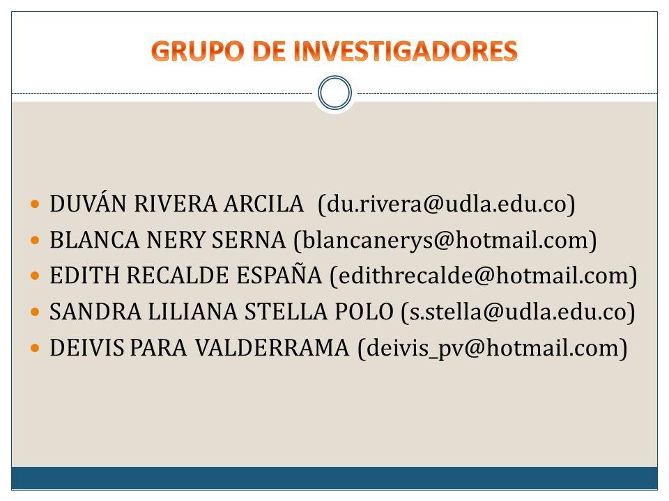 DUVÁN RIVERA ARCILA (du.rivera@udla.edu.co) BLANCA NERY SERNA (blancanerys@hotmail.com) EDITH RECALDE ESPAÑA (edithrecalde@hotmail.com) SANDRA LILIANA STELLA POLO (s.stella@udla.edu.co) DEIVIS PARA VALDERRAMA (deivis_pv@hotmail.com)