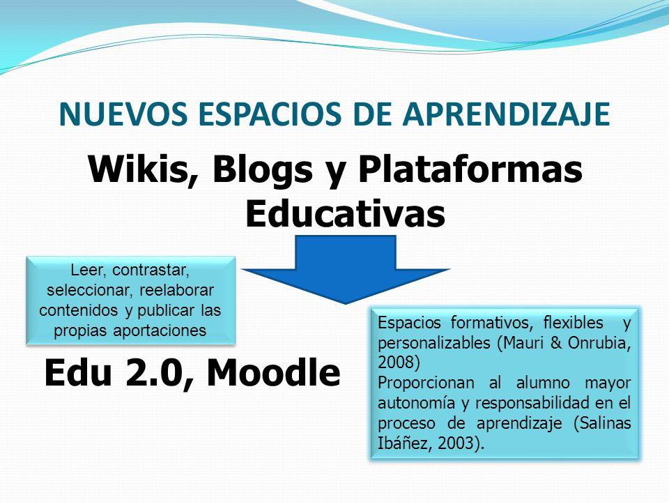 NUEVOS ESPACIOS DE APRENDIZAJE Wikis, Blogs y Plataformas Educativas Edu 2.0, Moodle Espacios formativos, flexibles y personalizables (Mauri & Onrubia