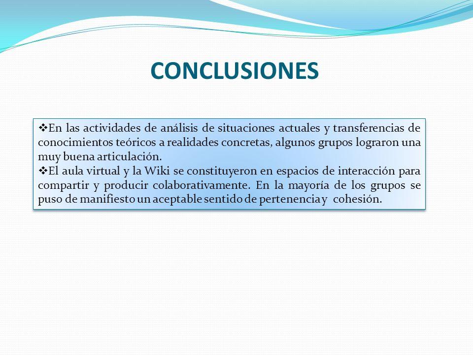 CONCLUSIONES En las actividades de análisis de situaciones actuales y transferencias de conocimientos teóricos a realidades concretas, algunos grupos