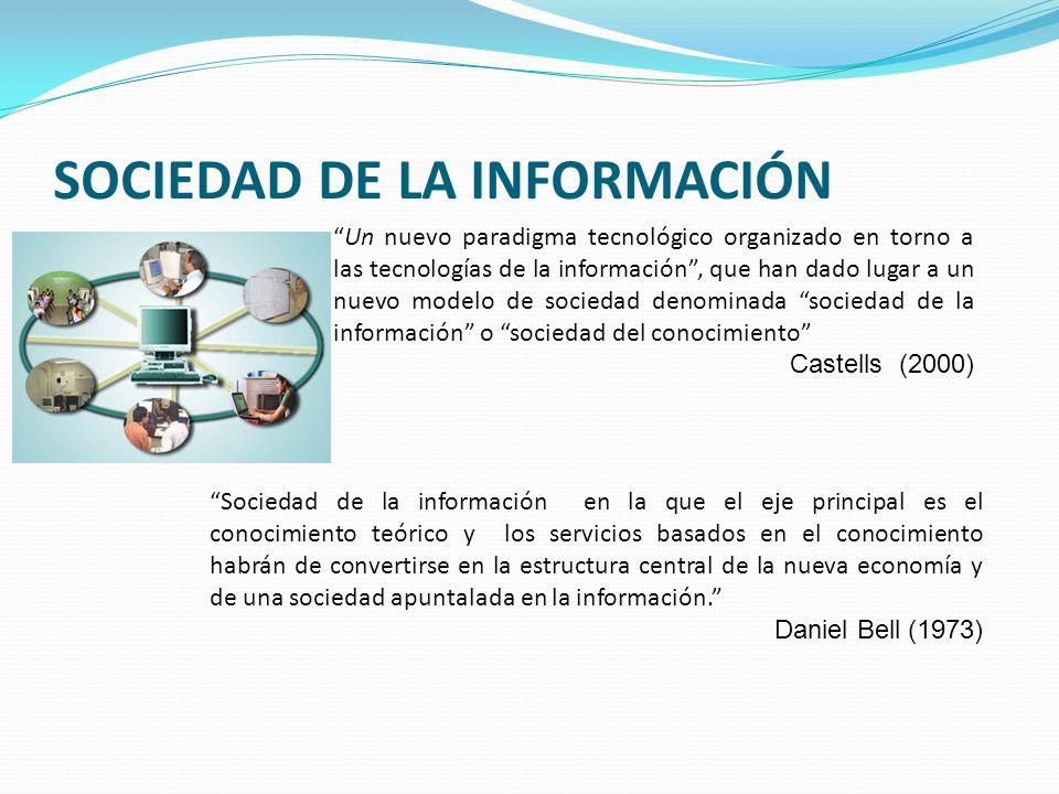 SOCIEDAD DE LA INFORMACIÓN Un nuevo paradigma tecnológico organizado en torno a las tecnologías de la información, que han dado lugar a un nuevo model