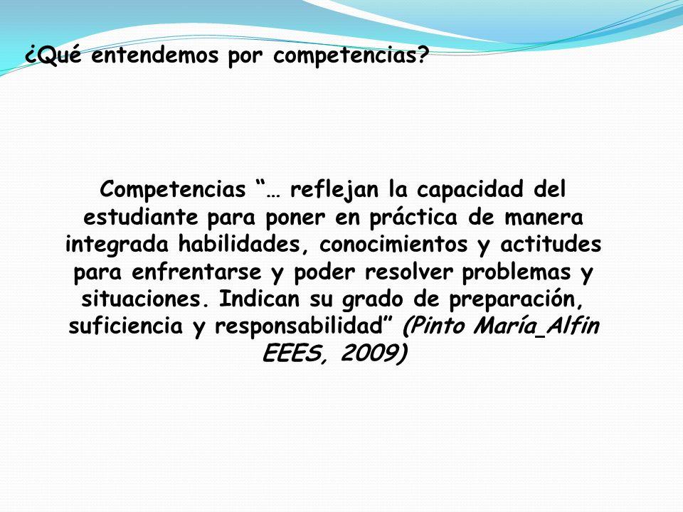 Competencias … reflejan la capacidad del estudiante para poner en práctica de manera integrada habilidades, conocimientos y actitudes para enfrentarse