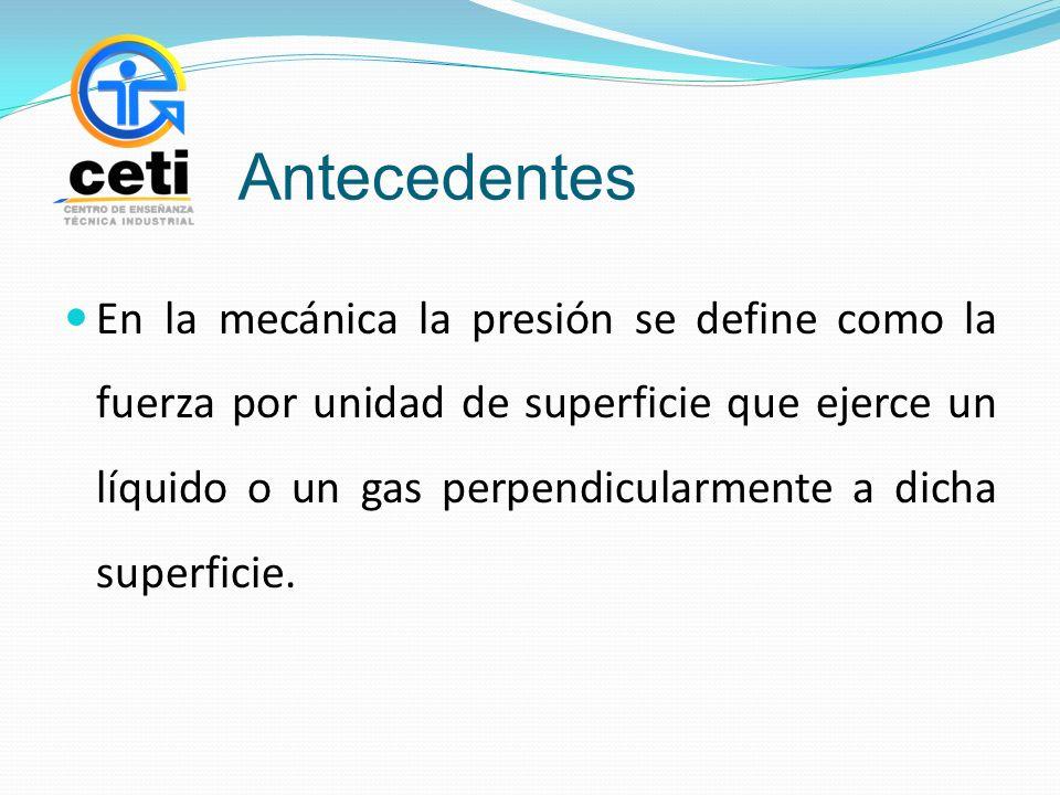 Antecedentes En la mecánica la presión se define como la fuerza por unidad de superficie que ejerce un líquido o un gas perpendicularmente a dicha superficie.