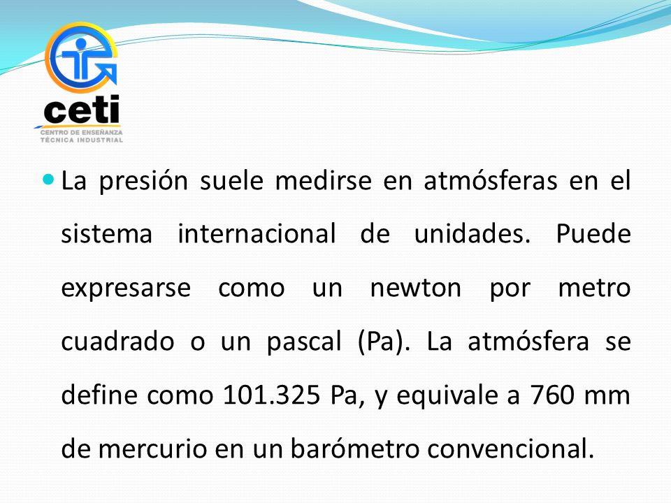 La presión suele medirse en atmósferas en el sistema internacional de unidades. Puede expresarse como un newton por metro cuadrado o un pascal (Pa). L