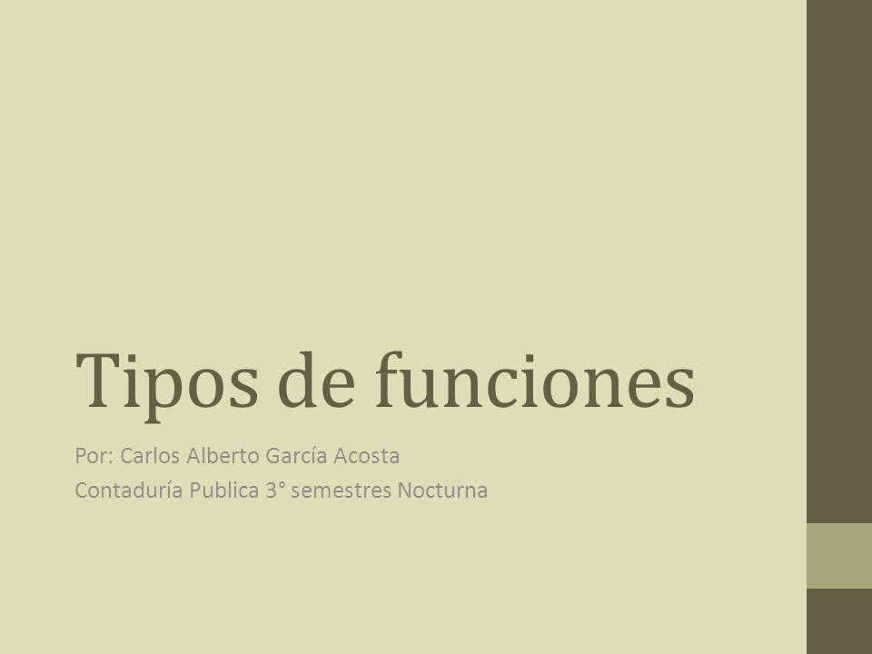Tipos de funciones Por: Carlos Alberto García Acosta Contaduría Publica 3° semestres Nocturna