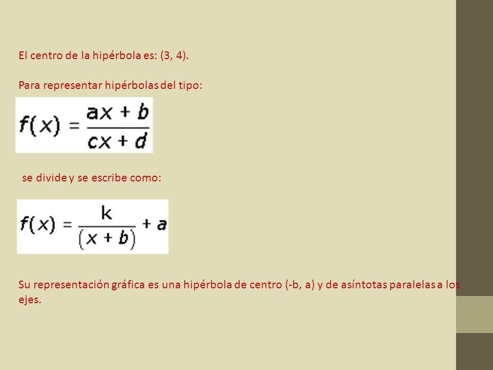 El centro de la hipérbola es: (3, 4). Para representar hipérbolas del tipo: se divide y se escribe como: Su representación gráfica es una hipérbola de