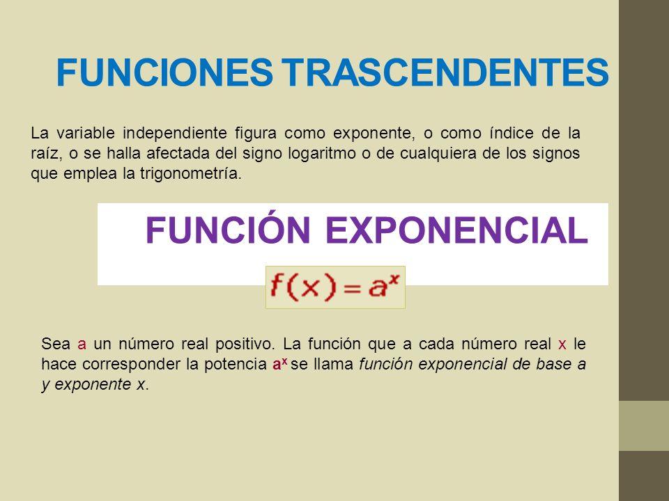 FUNCIONES TRASCENDENTES La variable independiente figura como exponente, o como índice de la raíz, o se halla afectada del signo logaritmo o de cualqu