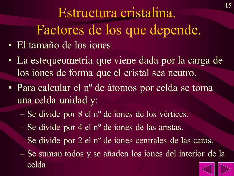 15 Estructura cristalina. Factores de los que depende. El tamaño de los iones. La estequeometría que viene dada por la carga de los iones de forma que