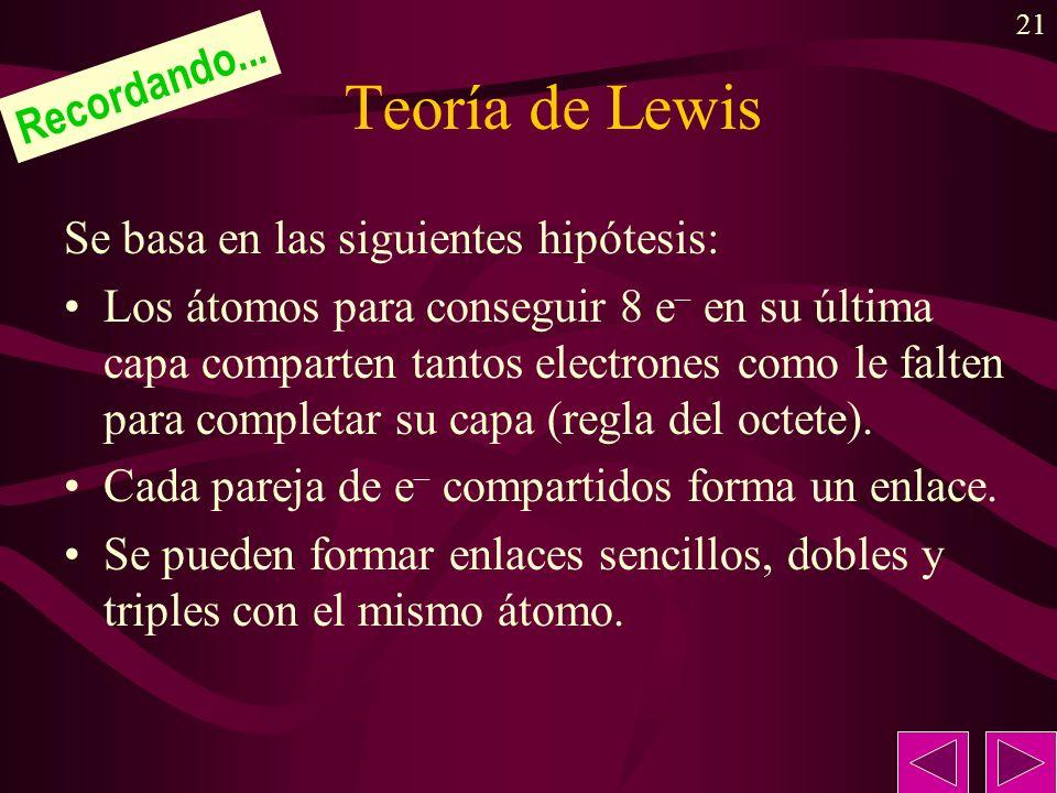 21 Teoría de Lewis Se basa en las siguientes hipótesis: Los átomos para conseguir 8 e – en su última capa comparten tantos electrones como le falten para completar su capa (regla del octete).