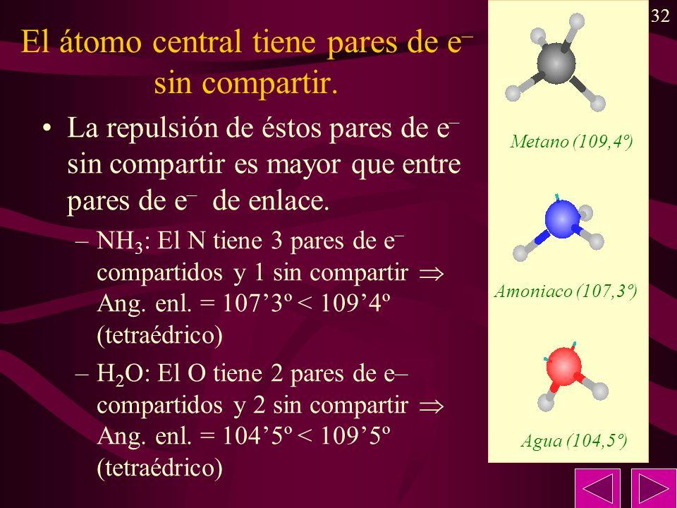 32 El átomo central tiene pares de e – sin compartir. La repulsión de éstos pares de e – sin compartir es mayor que entre pares de e – de enlace. –NH