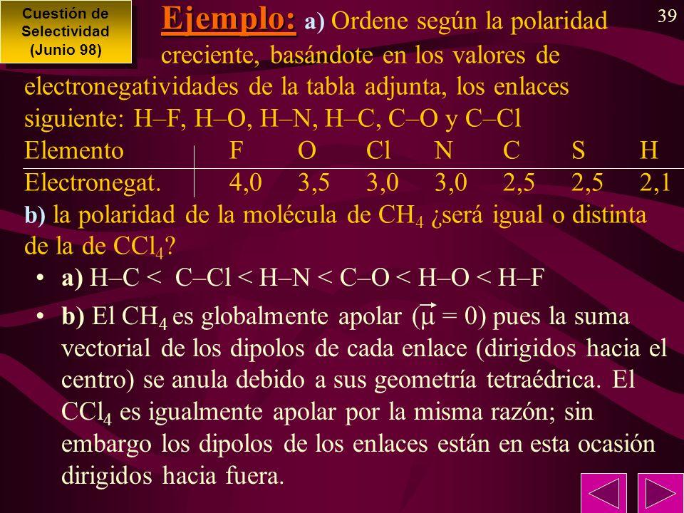 39 Ejemplo: Ejemplo: a) Ordene según la polaridad creciente, basándote en los valores de electronegatividades de la tabla adjunta, los enlaces siguiente: H–F, H–O, H–N, H–C, C–O y C–Cl ElementoFOClNCSH Electronegat.