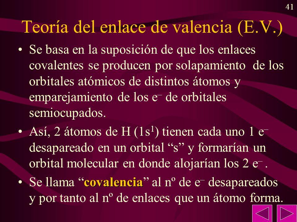 41 Teoría del enlace de valencia (E.V.) Se basa en la suposición de que los enlaces covalentes se producen por solapamiento de los orbitales atómicos de distintos átomos y emparejamiento de los e – de orbitales semiocupados.