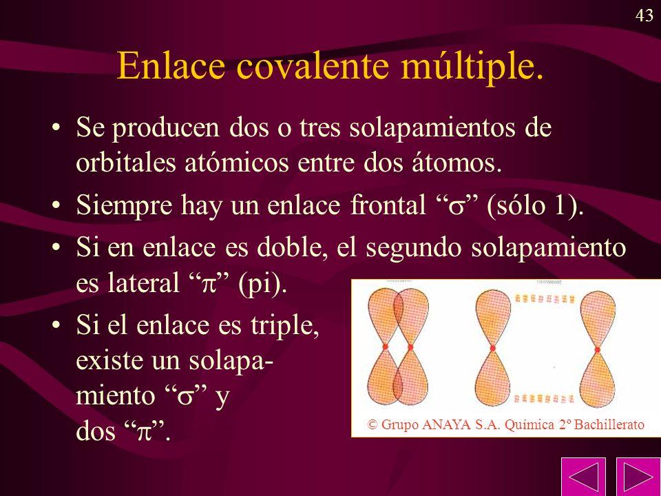 43 Enlace covalente múltiple. Se producen dos o tres solapamientos de orbitales atómicos entre dos átomos. Siempre hay un enlace frontal (sólo 1). Si
