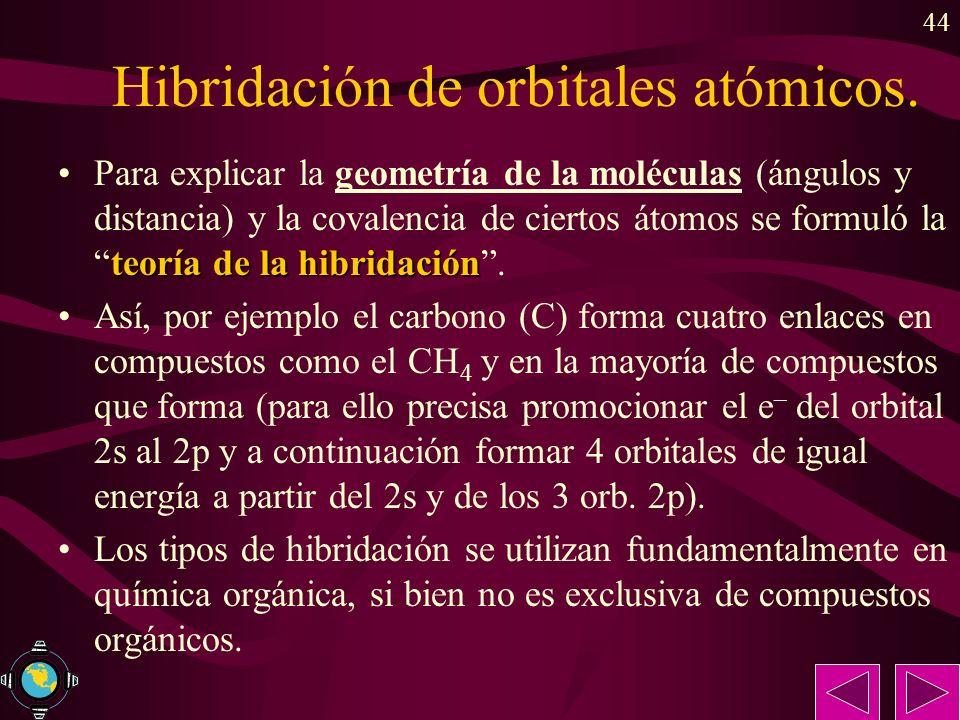 44 Hibridación de orbitales atómicos. teoría de la hibridaciónPara explicar la geometría de la moléculas (ángulos y distancia) y la covalencia de cier