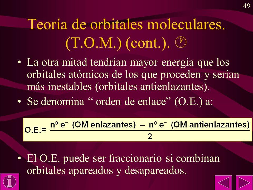 49 Teoría de orbitales moleculares. (T.O.M.) (cont.). La otra mitad tendrían mayor energía que los orbitales atómicos de los que proceden y serían más