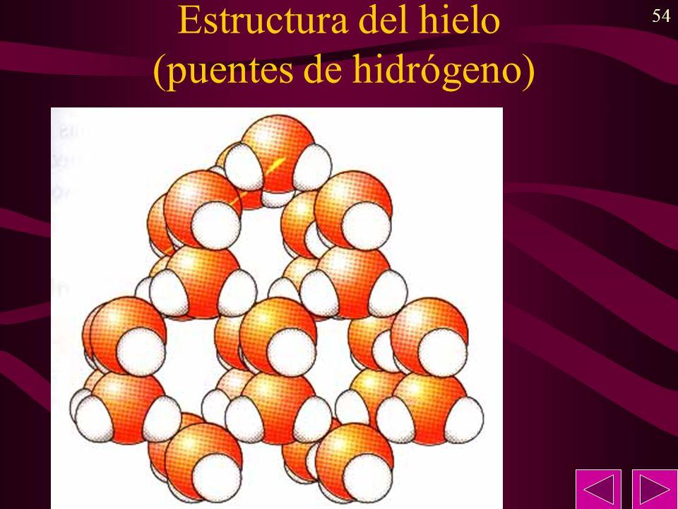 54 Estructura del hielo (puentes de hidrógeno)