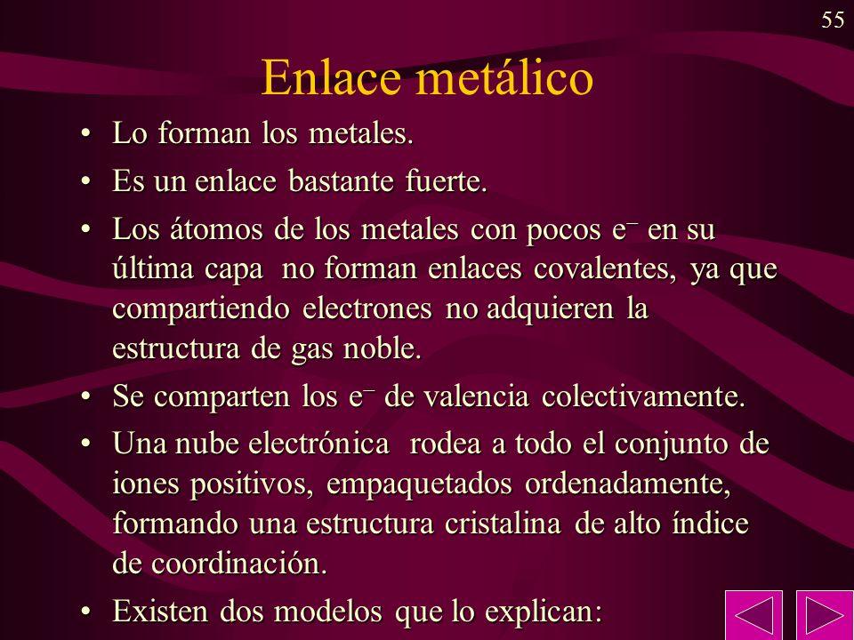 55 Enlace metálico Lo forman los metales.Lo forman los metales. Es un enlace bastante fuerte.Es un enlace bastante fuerte. Los átomos de los metales c