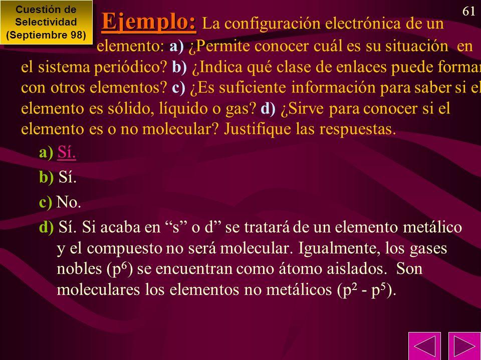 61 Ejemplo: Ejemplo: La configuración electrónica de un elemento: a) ¿Permite conocer cuál es su situación en el sistema periódico? b) ¿Indica qué cla