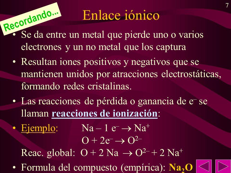 7 Enlace iónico Se da entre un metal que pierde uno o varios electrones y un no metal que los captura Resultan iones positivos y negativos que se mantienen unidos por atracciones electrostáticas, formando redes cristalinas.