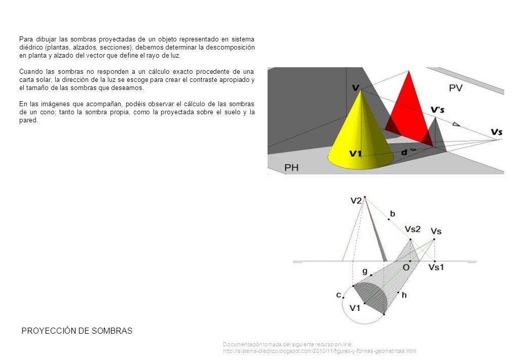 PROYECCIÓN DE SOMBRAS Para dibujar las sombras proyectadas de un objeto representado en sistema diédrico (plantas, alzados, secciones), debemos determinar la descomposición en planta y alzado del vector que define el rayo de luz.
